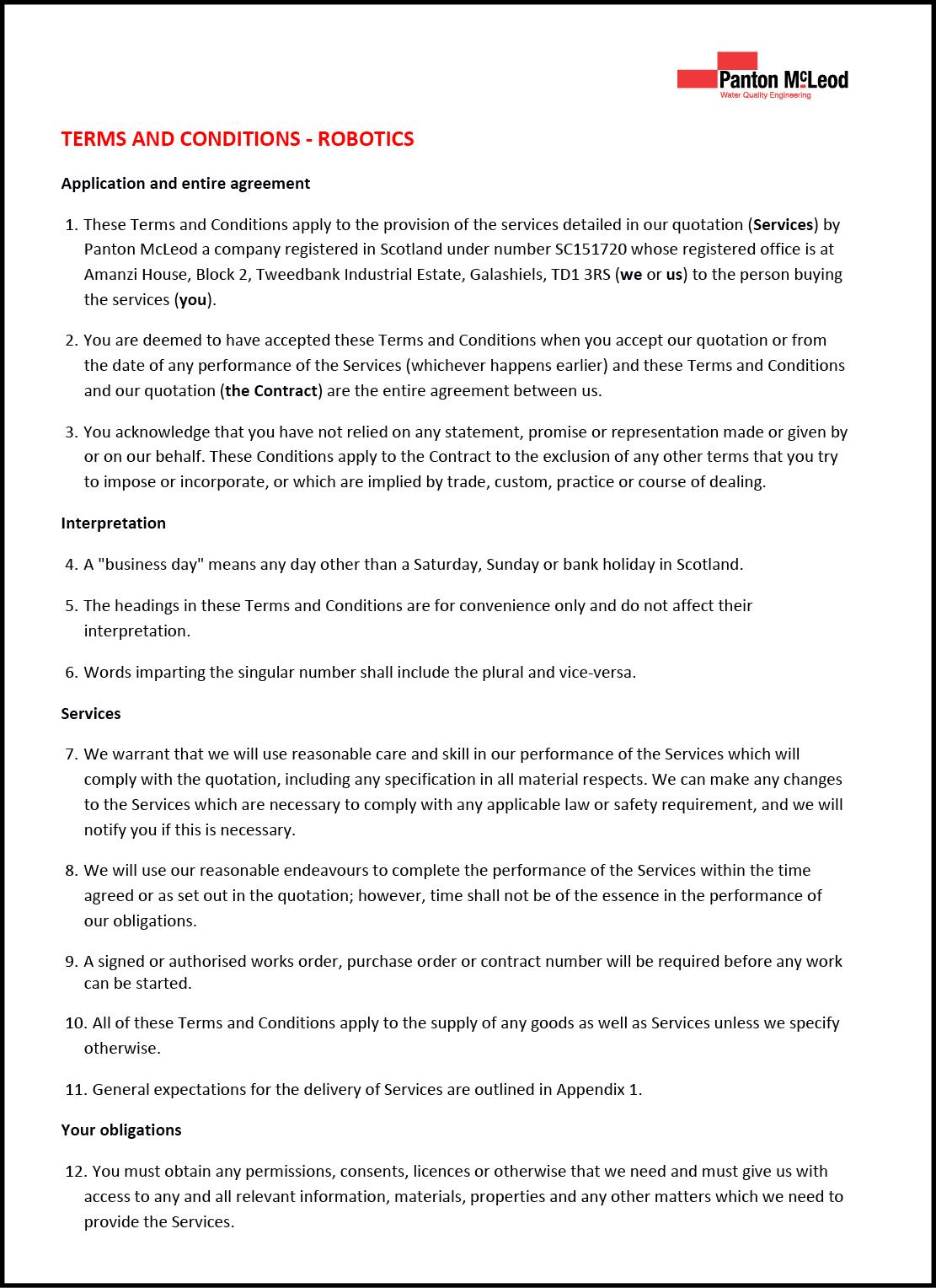 Robotics Terms & Conditions